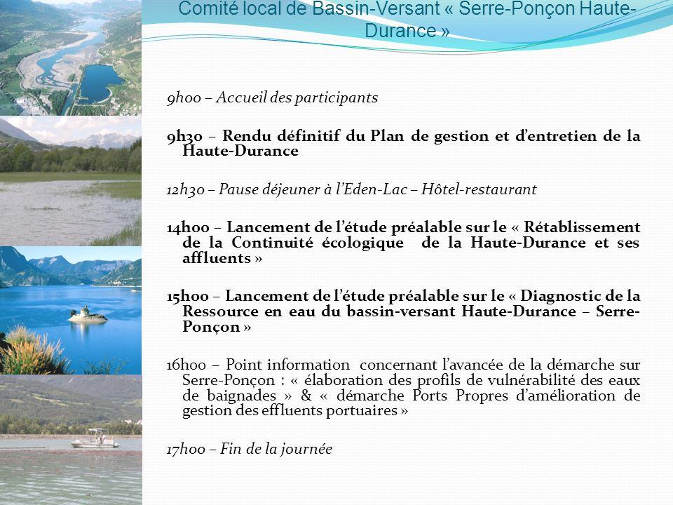 9h00 – Accueil des participants 9h30 – Rendu définitif du Plan de gestion et dentretien de la Haute-Durance 12h30 – Pause déjeuner à lEden-Lac – Hôtel
