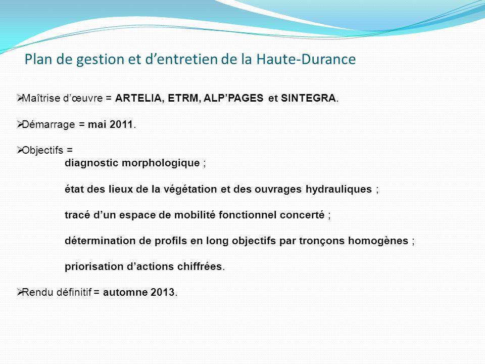 Plan de gestion et dentretien de la Haute-Durance Maîtrise dœuvre = ARTELIA, ETRM, ALPPAGES et SINTEGRA. Démarrage = mai 2011. Objectifs = diagnostic