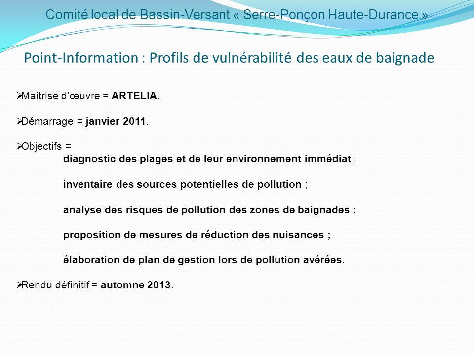 Comité local de Bassin-Versant « Serre-Ponçon Haute-Durance » Point-Information : Profils de vulnérabilité des eaux de baignade Maitrise dœuvre = ARTELIA.