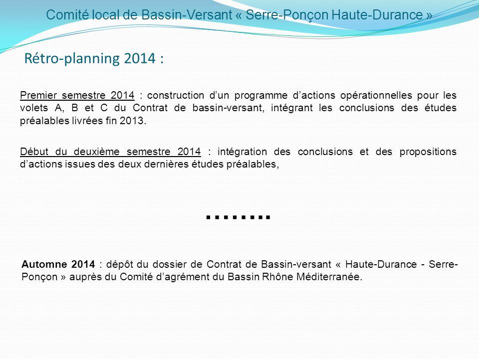 Comité local de Bassin-Versant « Serre-Ponçon Haute-Durance » Rétro-planning 2014 : …….. Début du deuxième semestre 2014 : intégration des conclusions