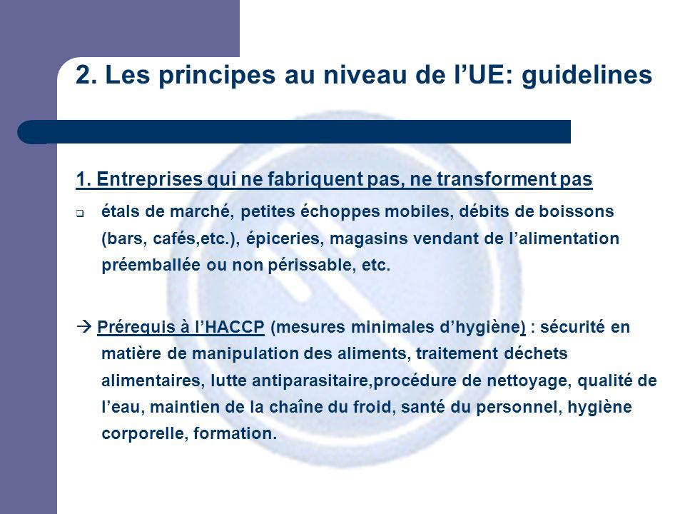 2. Les principes au niveau de lUE: guidelines 1.