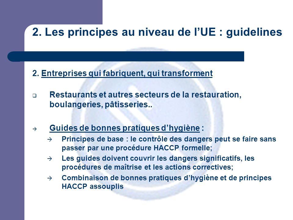 2. Les principes au niveau de lUE : guidelines 2.