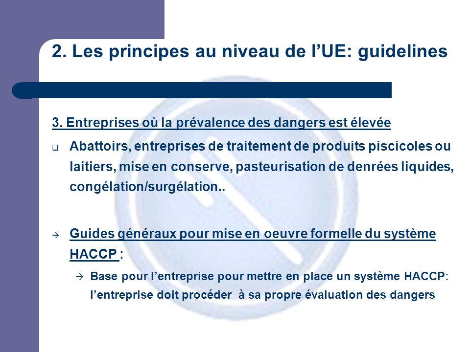 2. Les principes au niveau de lUE: guidelines 3.