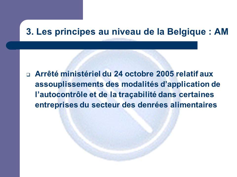 3. Les principes au niveau de la Belgique : AM Arrêté ministériel du 24 octobre 2005 relatif aux assouplissements des modalités dapplication de lautoc