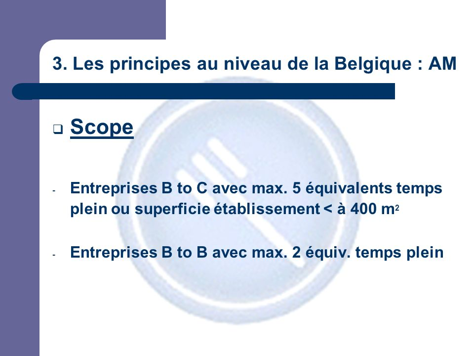 3. Les principes au niveau de la Belgique : AM Scope - Entreprises B to C avec max.