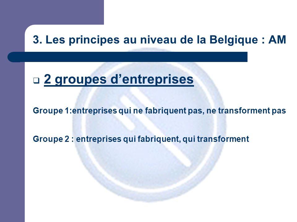 3. Les principes au niveau de la Belgique : AM 2 groupes dentreprises Groupe 1:entreprises qui ne fabriquent pas, ne transforment pas Groupe 2 : entre