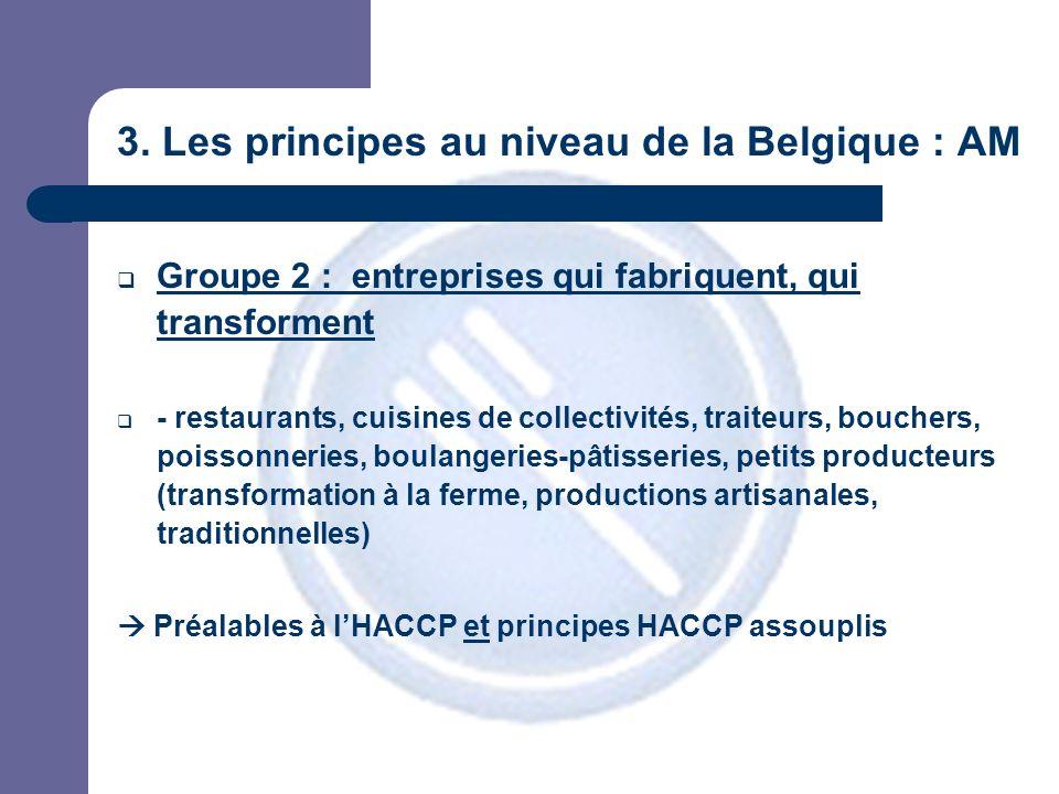 3. Les principes au niveau de la Belgique : AM Groupe 2 : entreprises qui fabriquent, qui transforment - restaurants, cuisines de collectivités, trait