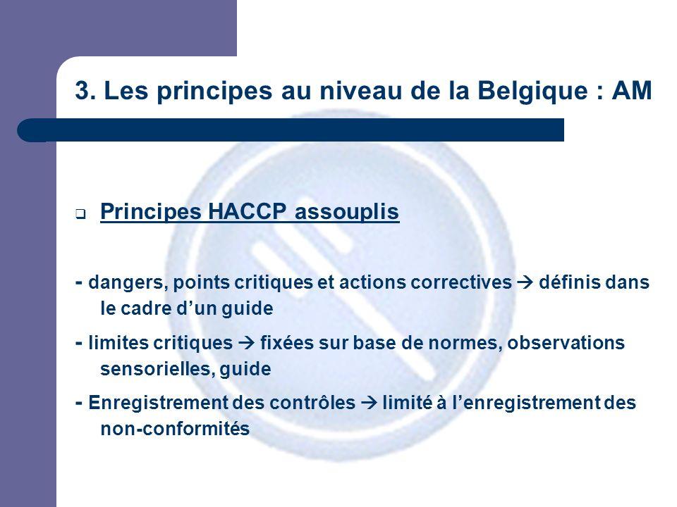 3. Les principes au niveau de la Belgique : AM Principes HACCP assouplis - dangers, points critiques et actions correctives définis dans le cadre dun