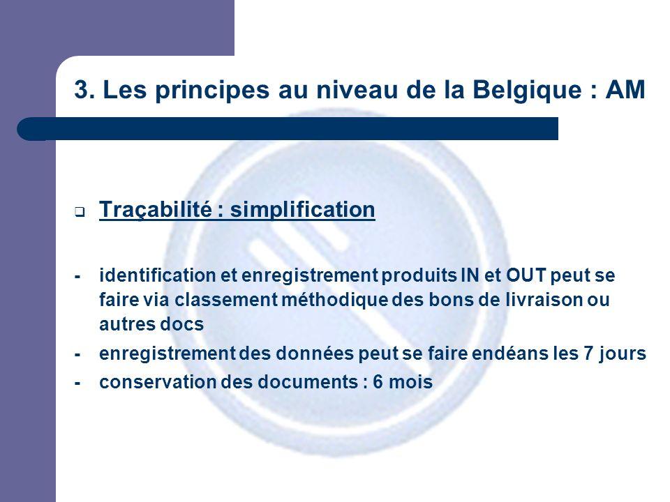 3. Les principes au niveau de la Belgique : AM Traçabilité : simplification - identification et enregistrement produits IN et OUT peut se faire via cl