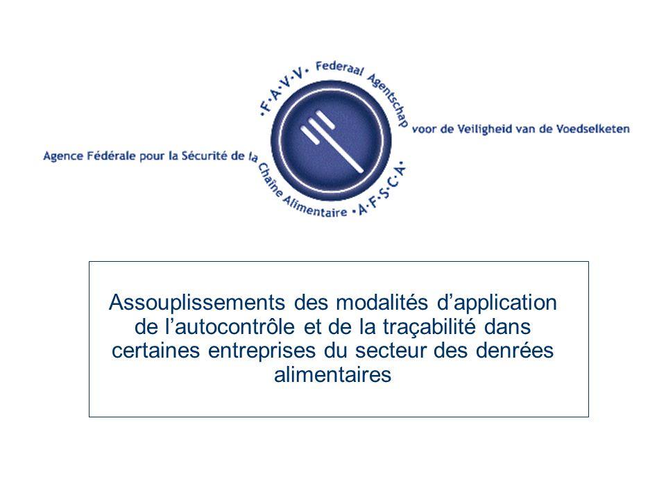 Assouplissements des modalités dapplication de lautocontrôle et de la traçabilité dans certaines entreprises du secteur des denrées alimentaires