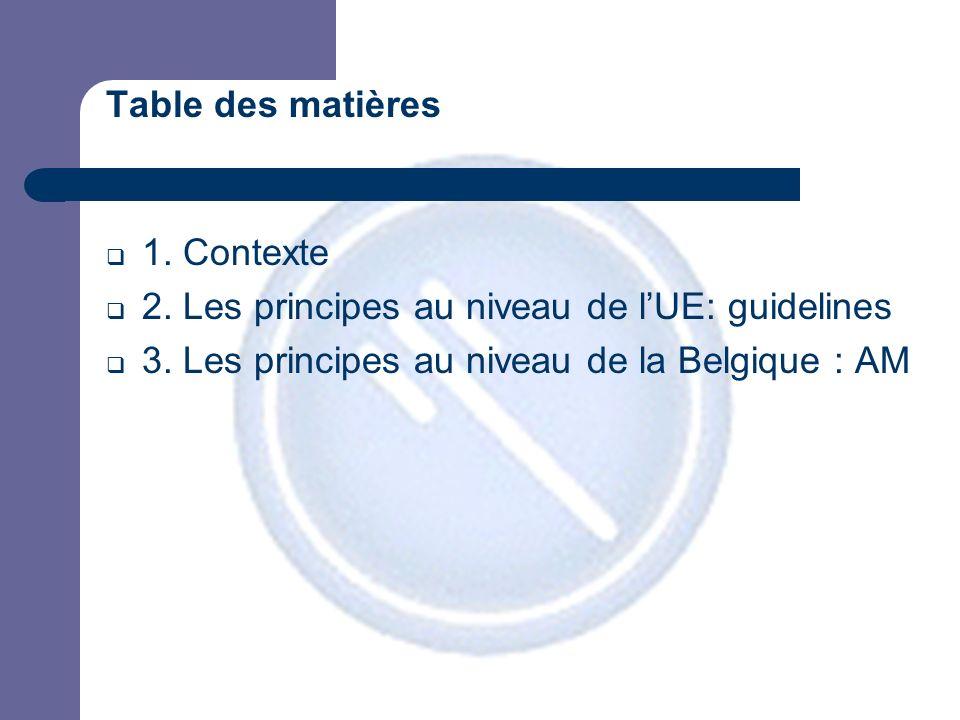 Table des matières 1. Contexte 2. Les principes au niveau de lUE: guidelines 3.