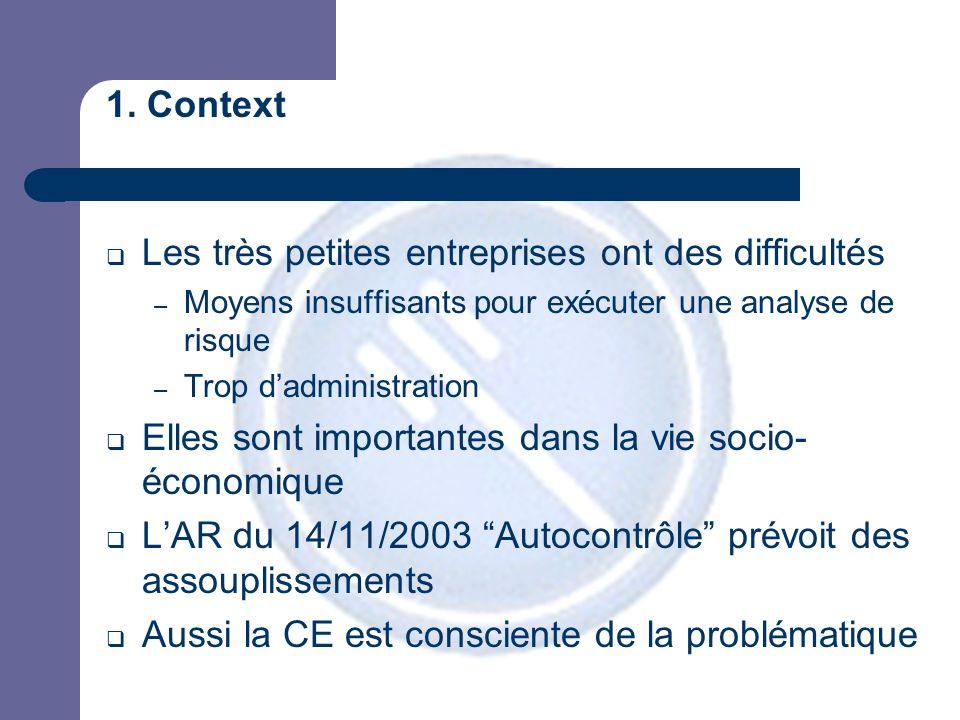 1. Context Les très petites entreprises ont des difficultés – Moyens insuffisants pour exécuter une analyse de risque – Trop dadministration Elles son