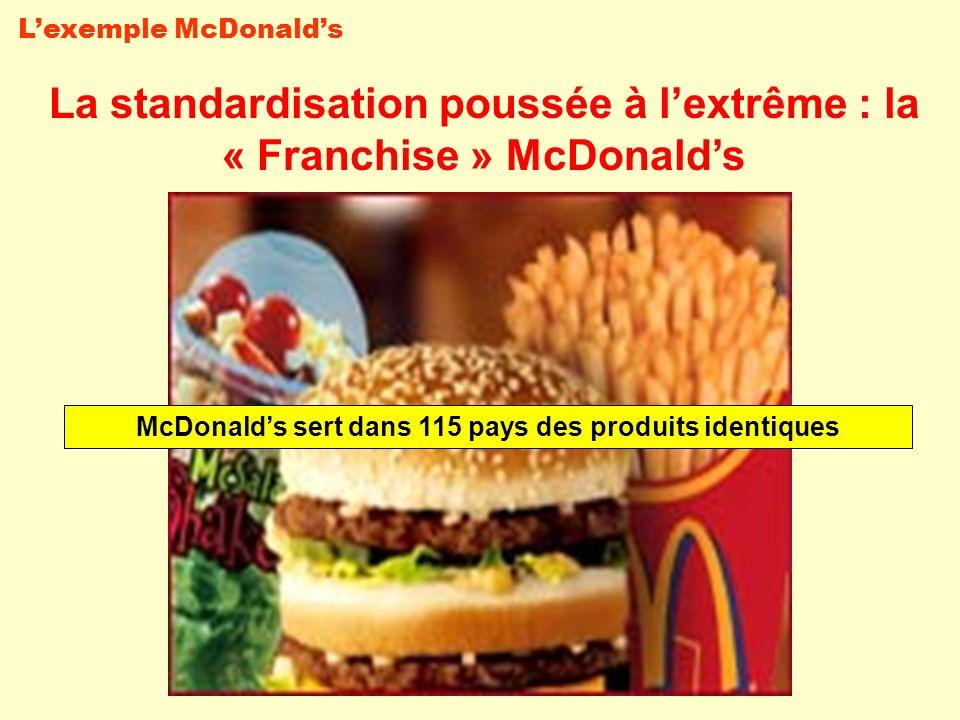 La standardisation poussée à lextrême : la « Franchise » McDonalds McDonalds sert dans 115 pays des produits identiques Lexemple McDonalds