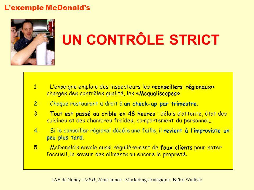 IAE de Nancy - MSG, 2ème année - Marketing stratégique - Björn Walliser UN CONTRÔLE STRICT 1. Lenseigne emploie des inspecteurs les «conseillers régio