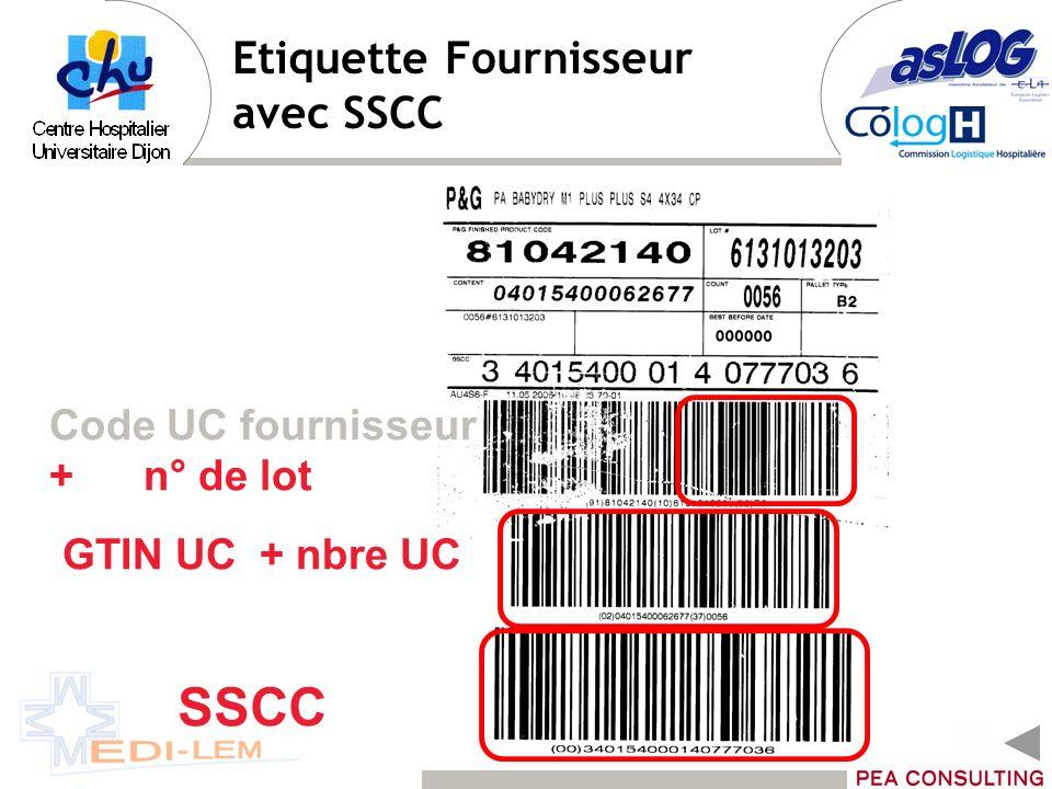 Etiquette Fournisseur avec SSCC SSCC GTIN UC + nbre UC Code UC fournisseur + n° de lot