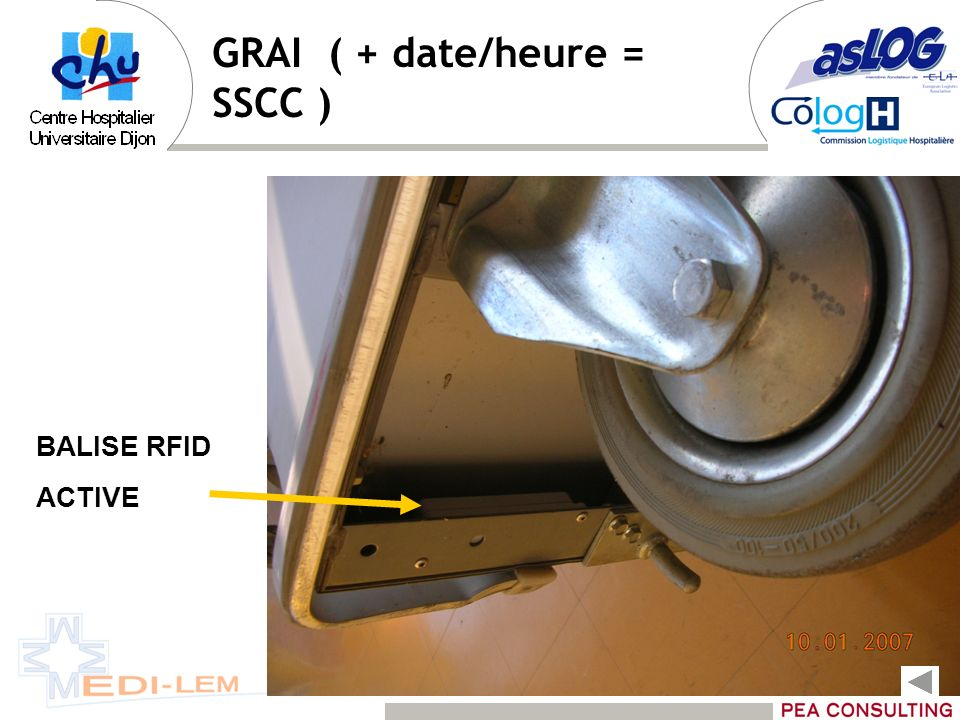 GRAI ( + date/heure = SSCC ) BALISE RFID ACTIVE