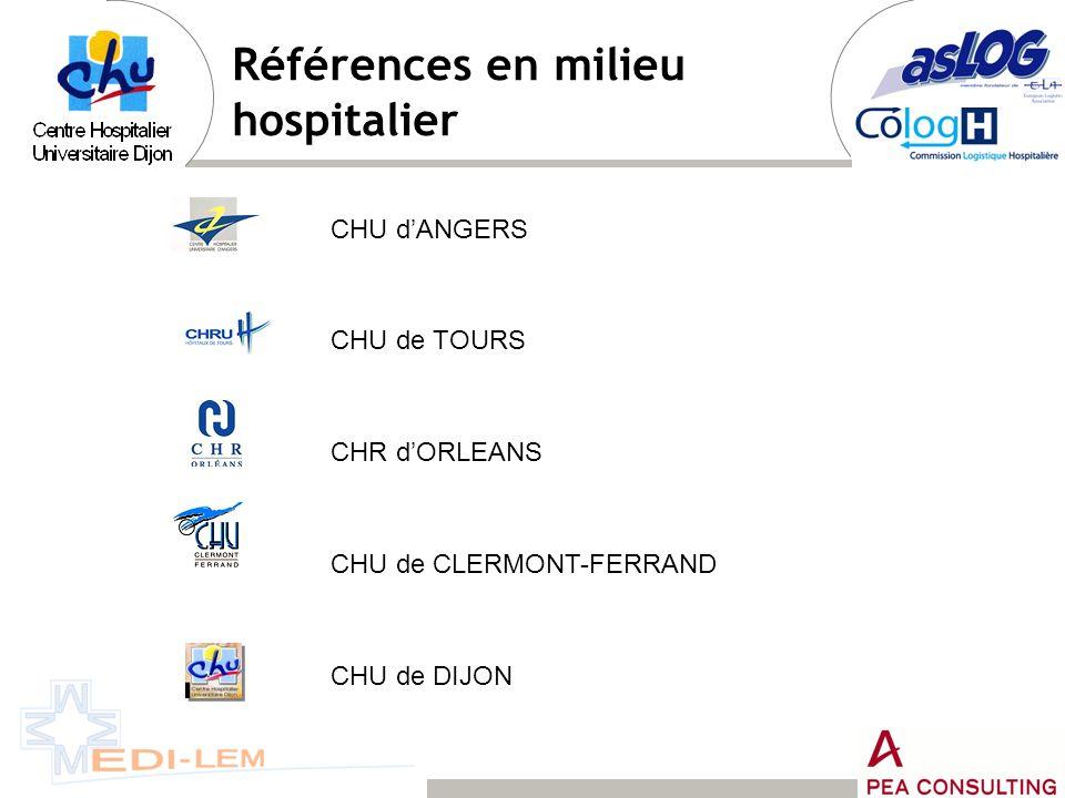 Références en milieu hospitalier CHU dANGERS CHU de TOURS CHR dORLEANS CHU de CLERMONT-FERRAND CHU de DIJON