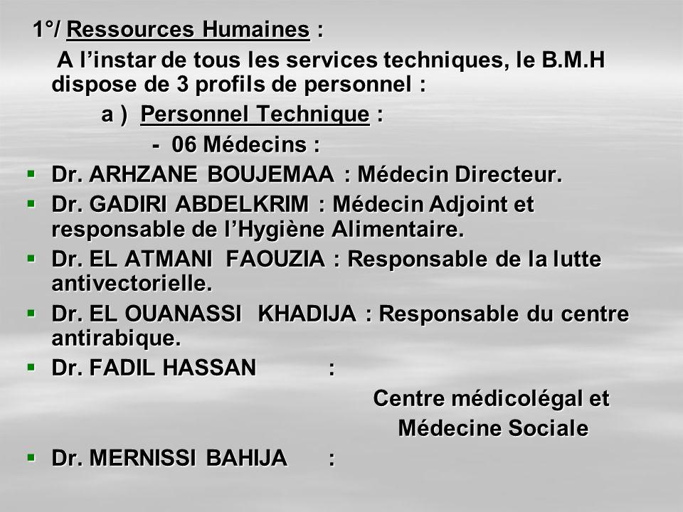 1°/ Ressources Humaines : 1°/ Ressources Humaines : A linstar de tous les services techniques, le B.M.H dispose de 3 profils de personnel : A linstar