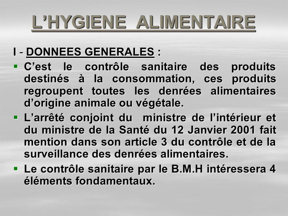 LHYGIENE ALIMENTAIRE I - DONNEES GENERALES : Cest le contrôle sanitaire des produits destinés à la consommation, ces produits regroupent toutes les de