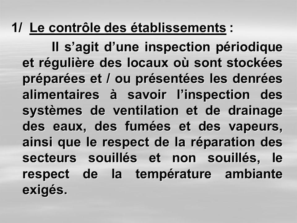 1/ Le contrôle des établissements : Il sagit dune inspection périodique et régulière des locaux où sont stockées préparées et / ou présentées les denr