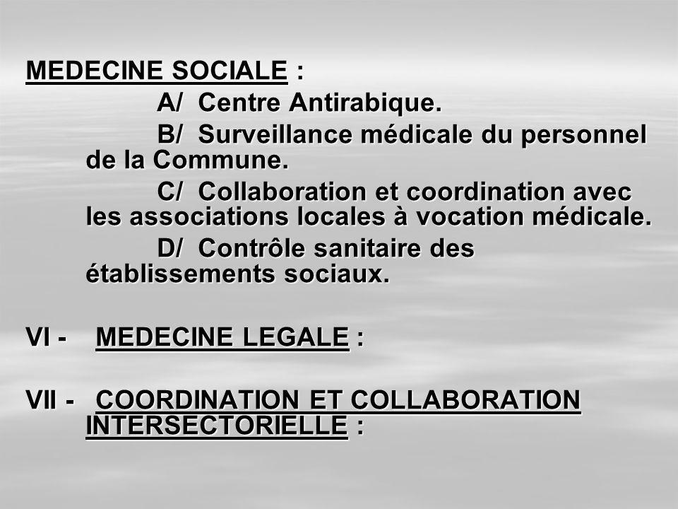 MEDECINE SOCIALE : A/ Centre Antirabique. A/ Centre Antirabique. B/ Surveillance médicale du personnel de la Commune. B/ Surveillance médicale du pers