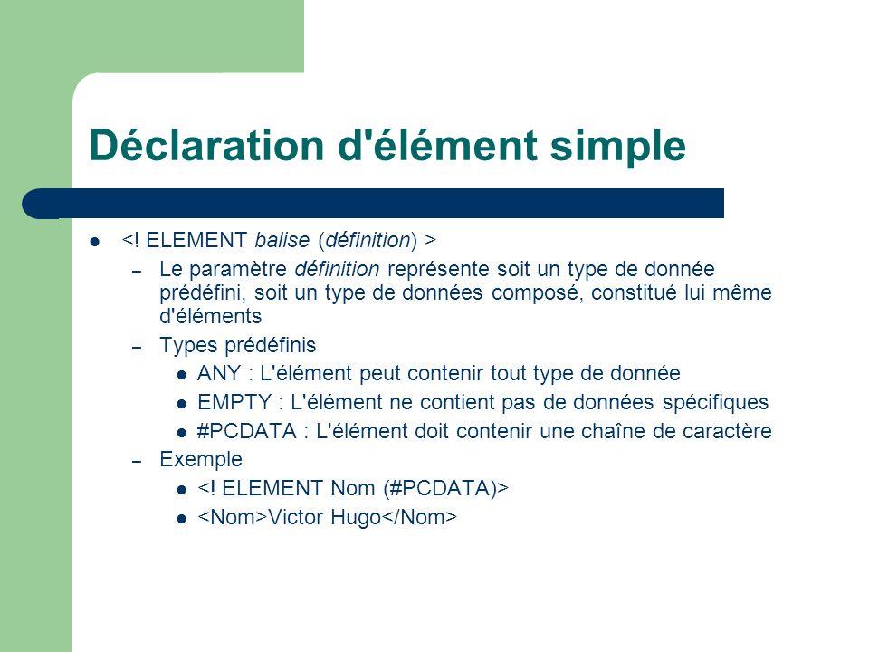 Déclaration d'élément simple – Le paramètre définition représente soit un type de donnée prédéfini, soit un type de données composé, constitué lui mêm