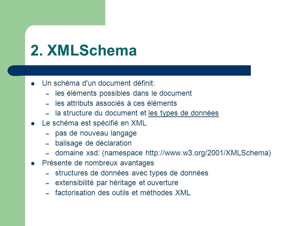 2. XMLSchema Un schéma d'un document définit: – les éléments possibles dans le document – les attributs associés à ces éléments – la structure du docu
