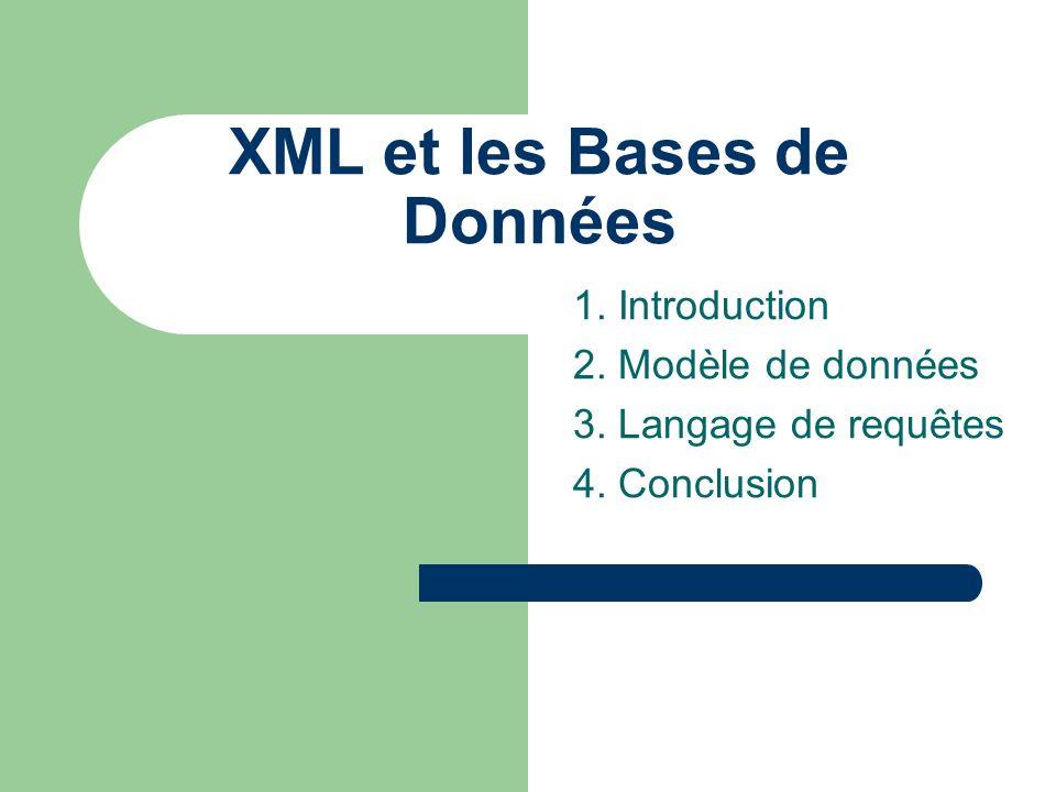XML et les Bases de Données 1. Introduction 2. Modèle de données 3. Langage de requêtes 4. Conclusion