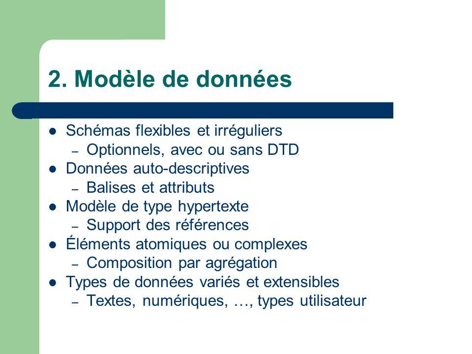 2. Modèle de données Schémas flexibles et irréguliers – Optionnels, avec ou sans DTD Données auto-descriptives – Balises et attributs Modèle de type h