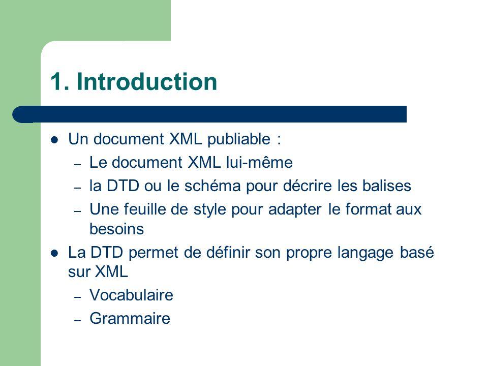 1. Introduction Un document XML publiable : – Le document XML lui-même – la DTD ou le schéma pour décrire les balises – Une feuille de style pour adap