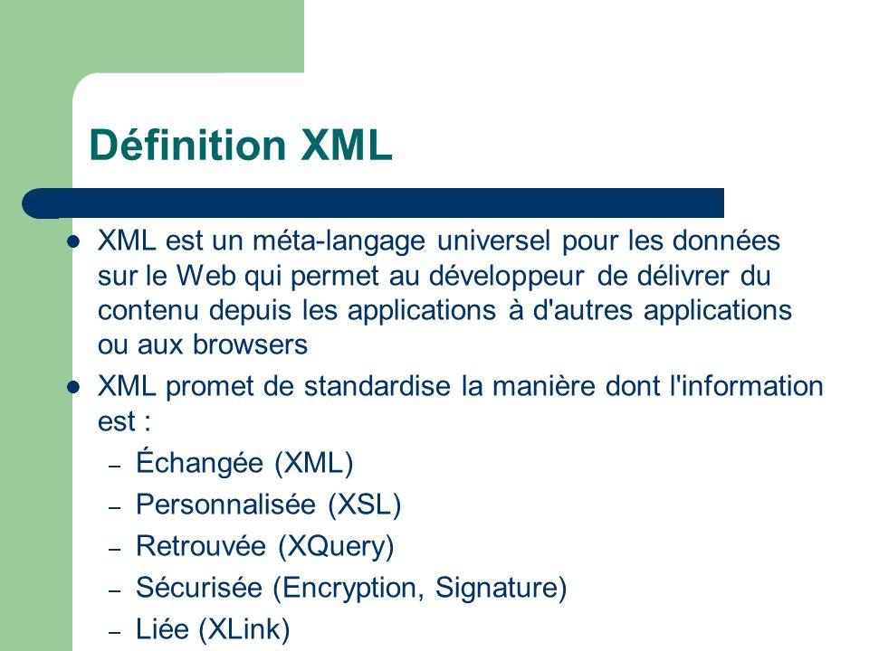 XML est un méta-langage universel pour les données sur le Web qui permet au développeur de délivrer du contenu depuis les applications à d'autres appl