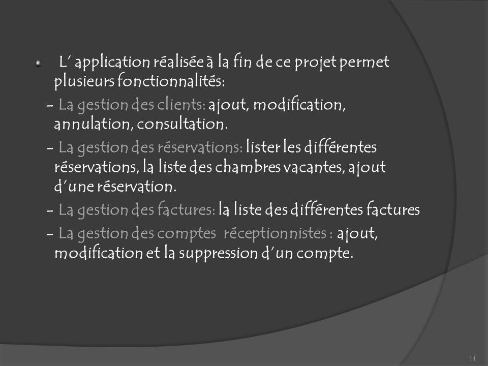 L application réalisée à la fin de ce projet permet plusieurs fonctionnalités: - La gestion des clients: ajout, modification, annulation, consultation.