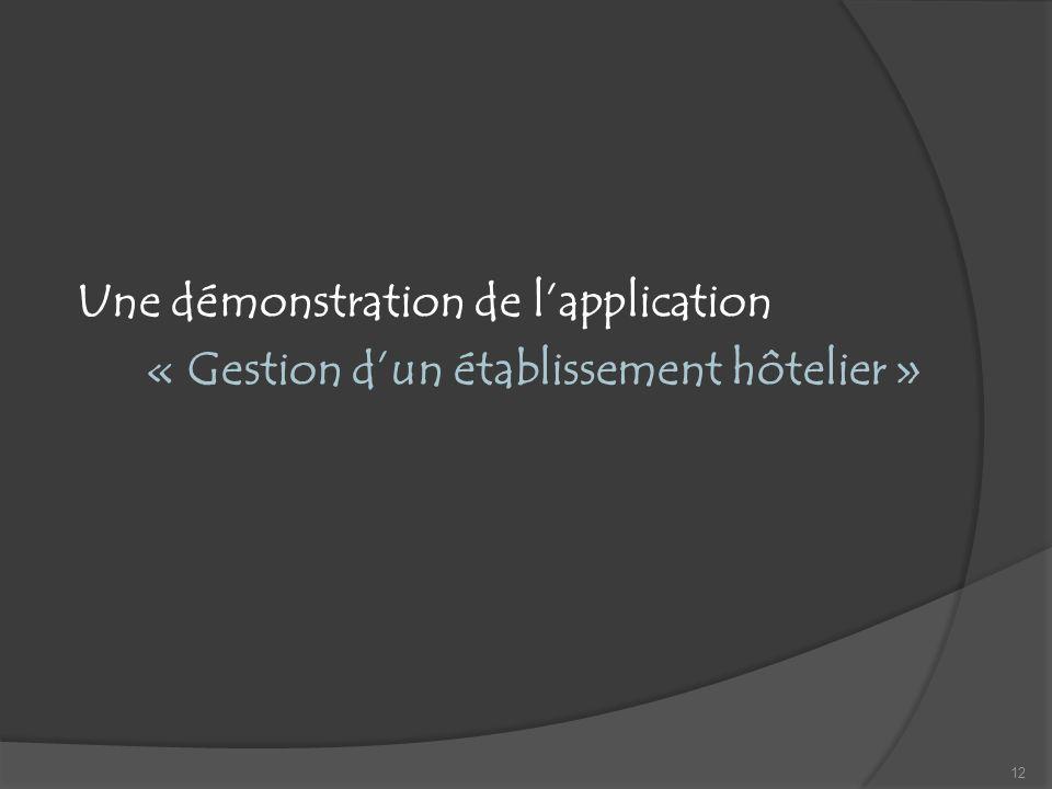 Une démonstration de lapplication « Gestion dun établissement hôtelier » 12