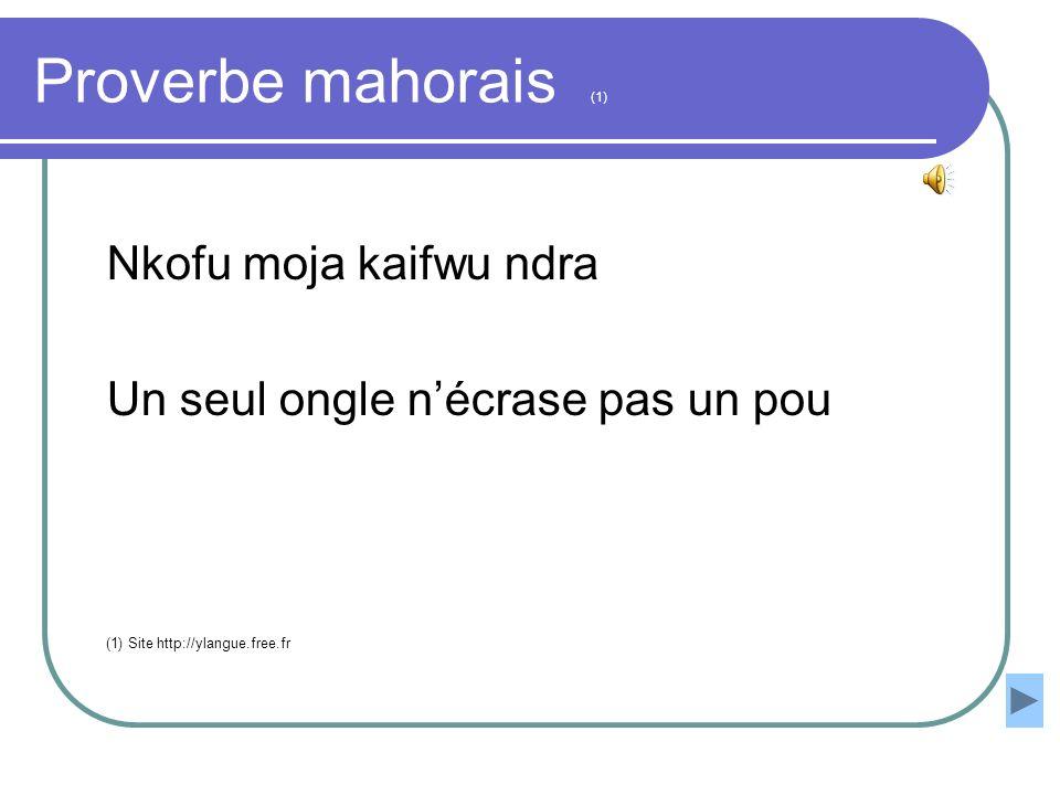 Proverbe mahorais (1) Nkofu moja kaifwu ndra Un seul ongle nécrase pas un pou (1) Site http://ylangue.free.fr
