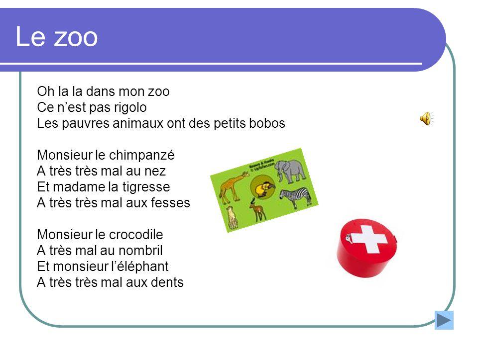 Le zoo Oh la la dans mon zoo Ce nest pas rigolo Les pauvres animaux ont des petits bobos Monsieur le chimpanzé A très très mal au nez Et madame la tig