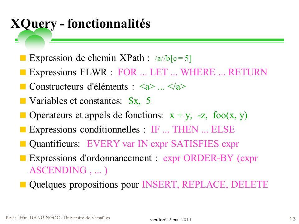 vendredi 2 mai 2014 Tuyêt Trâm DANG NGOC - Université de Versailles 13 XQuery - fonctionnalités Expression de chemin XPath : /a//b[c = 5] Expressions