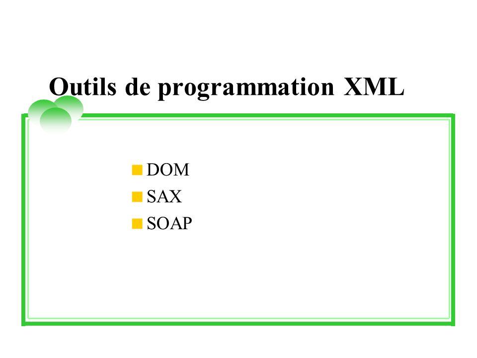 Outils de programmation XML DOM SAX SOAP