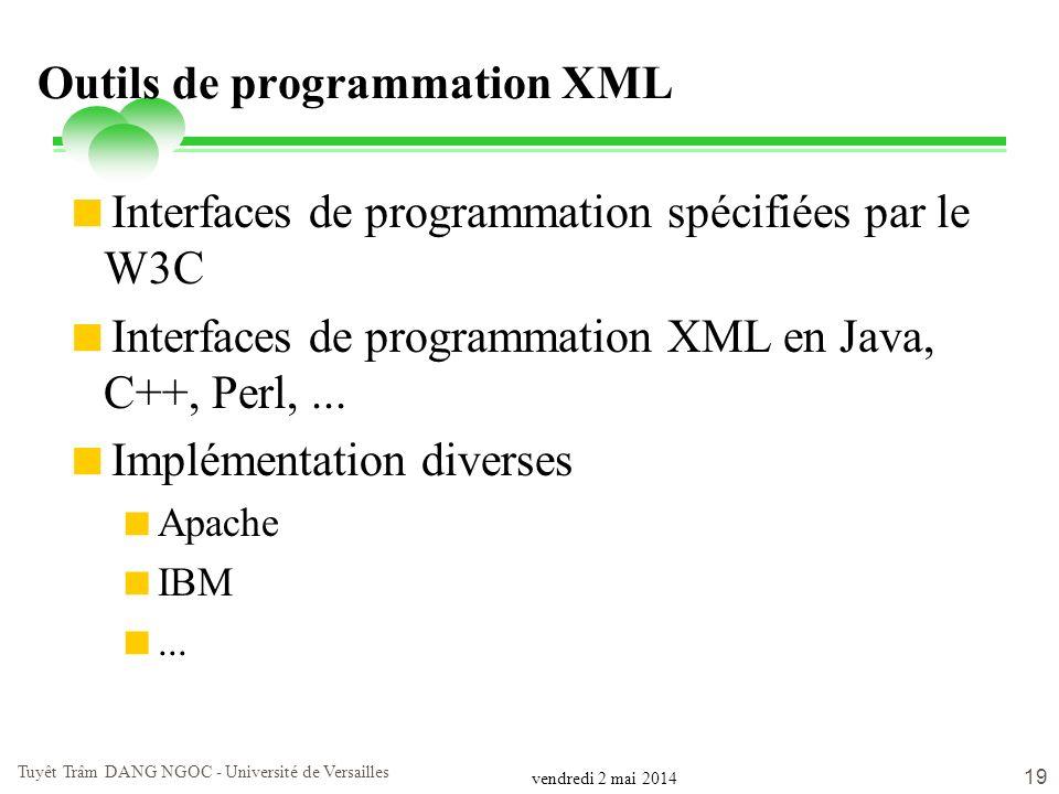 vendredi 2 mai 2014 Tuyêt Trâm DANG NGOC - Université de Versailles 19 Outils de programmation XML Interfaces de programmation spécifiées par le W3C I