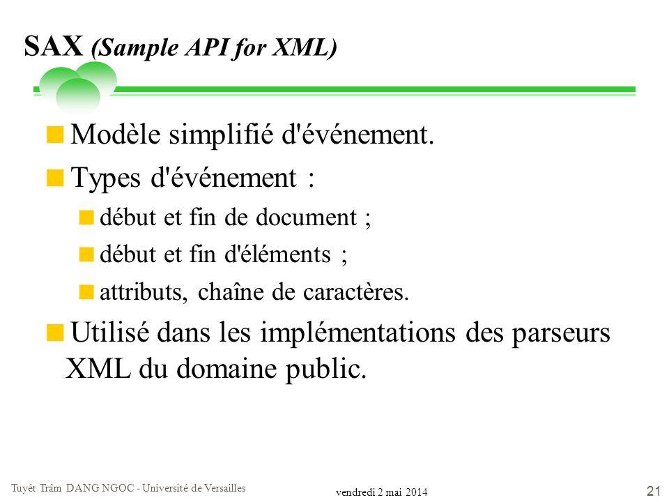 vendredi 2 mai 2014 Tuyêt Trâm DANG NGOC - Université de Versailles 21 SAX (Sample API for XML) Modèle simplifié d'événement. Types d'événement : débu