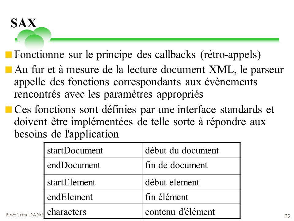 vendredi 2 mai 2014 Tuyêt Trâm DANG NGOC - Université de Versailles 22 SAX Fonctionne sur le principe des callbacks (rétro-appels) Au fur et à mesure