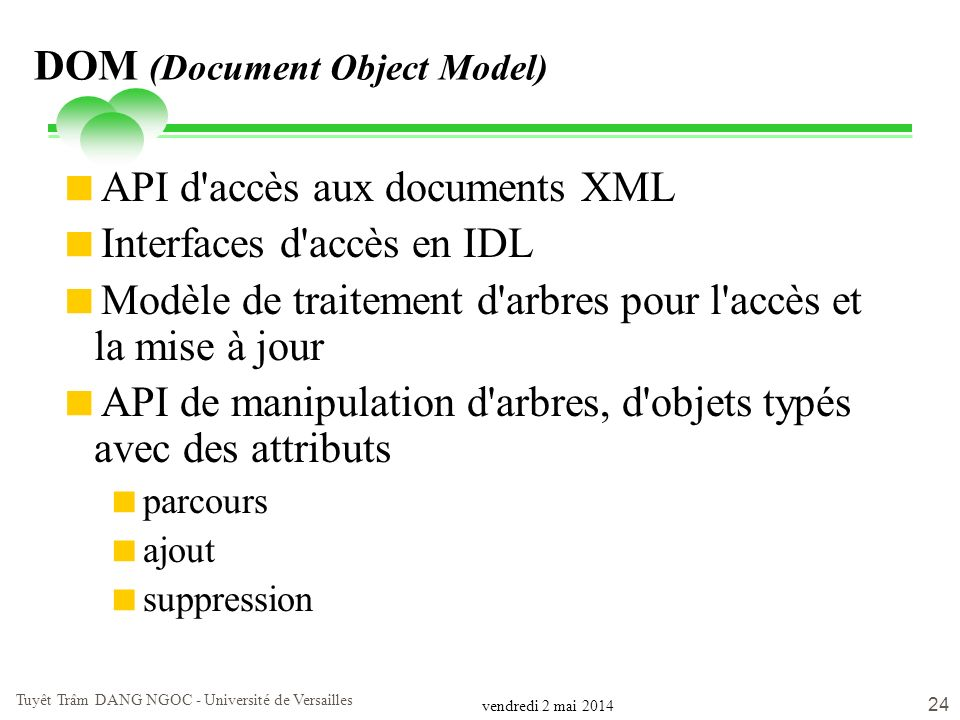 vendredi 2 mai 2014 Tuyêt Trâm DANG NGOC - Université de Versailles 24 DOM (Document Object Model) API d'accès aux documents XML Interfaces d'accès en