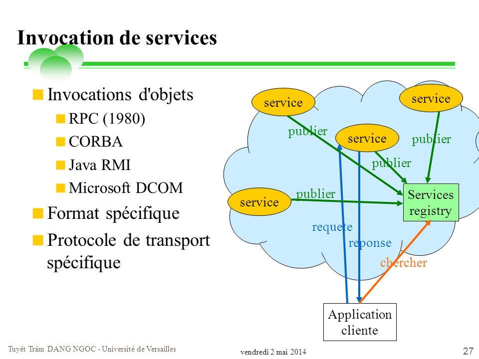 vendredi 2 mai 2014 Tuyêt Trâm DANG NGOC - Université de Versailles 27 Invocation de services Invocations d'objets RPC (1980) CORBA Java RMI Microsoft