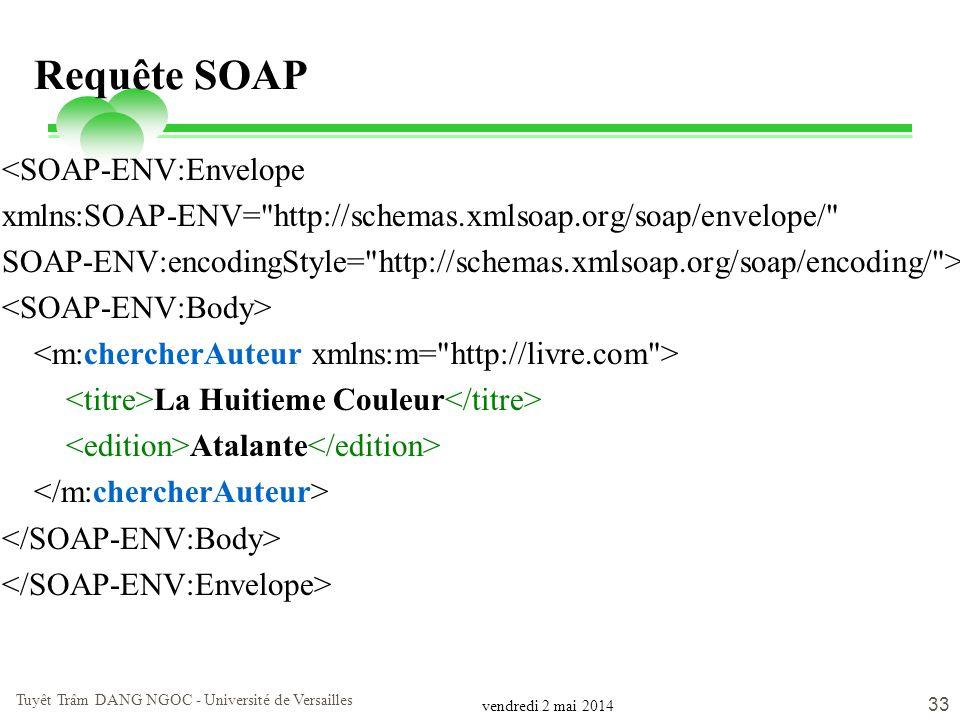 vendredi 2 mai 2014 Tuyêt Trâm DANG NGOC - Université de Versailles 33 Requête SOAP <SOAP-ENV:Envelope xmlns:SOAP-ENV=