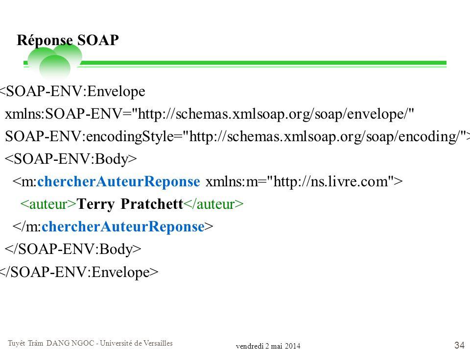 vendredi 2 mai 2014 Tuyêt Trâm DANG NGOC - Université de Versailles 34 Réponse SOAP <SOAP-ENV:Envelope xmlns:SOAP-ENV=