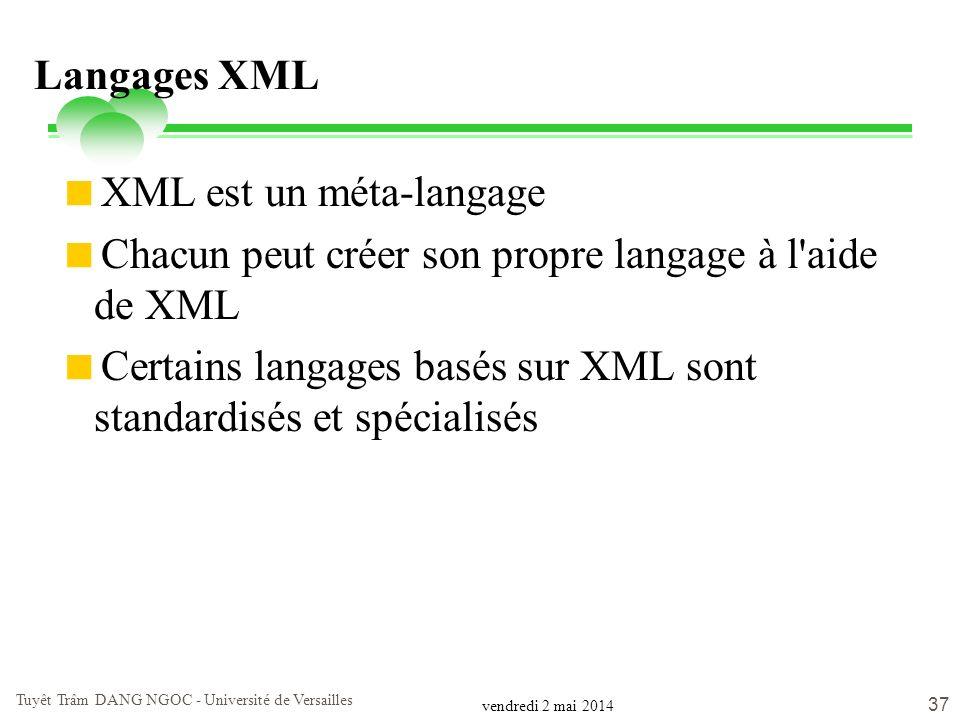 vendredi 2 mai 2014 Tuyêt Trâm DANG NGOC - Université de Versailles 37 Langages XML XML est un méta-langage Chacun peut créer son propre langage à l'a