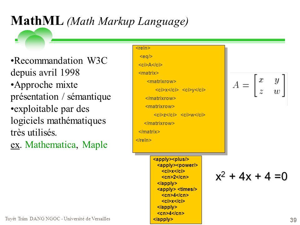 vendredi 2 mai 2014 Tuyêt Trâm DANG NGOC - Université de Versailles 39 MathML (Math Markup Language) A x y z w A x y z w Recommandation W3C depuis avr