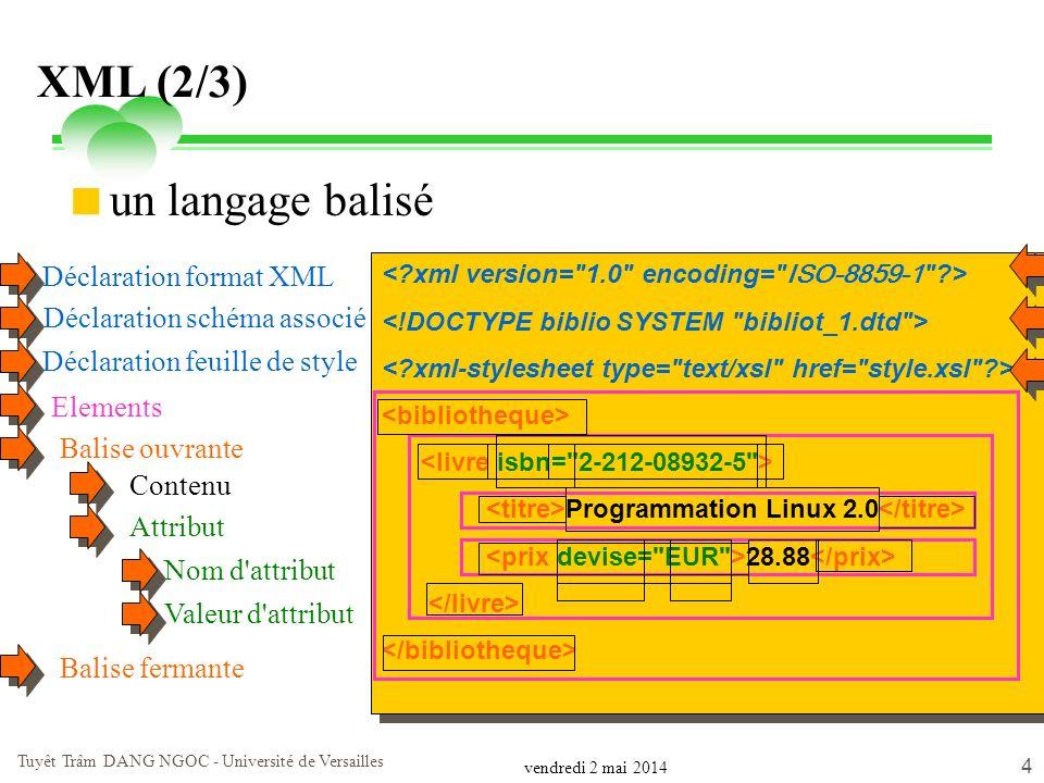 vendredi 2 mai 2014 Tuyêt Trâm DANG NGOC - Université de Versailles 4 XML (2/3) un langage balisé Programmation Linux 2.0 28.88 Programmation Linux 2.