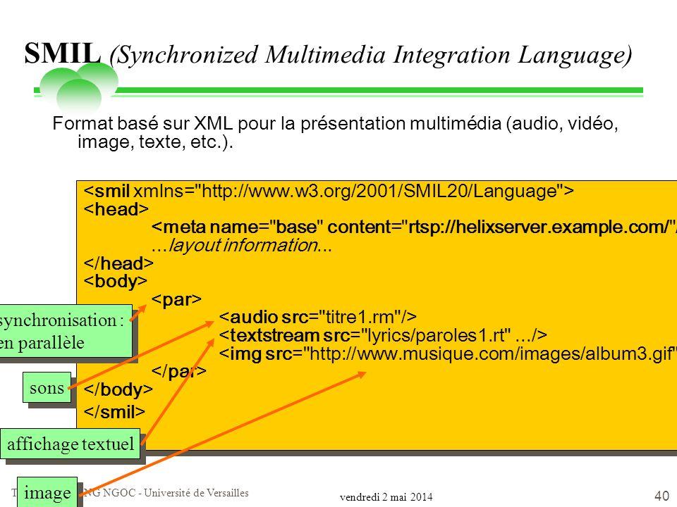 vendredi 2 mai 2014 Tuyêt Trâm DANG NGOC - Université de Versailles 40 SMIL (Synchronized Multimedia Integration Language) Format basé sur XML pour la