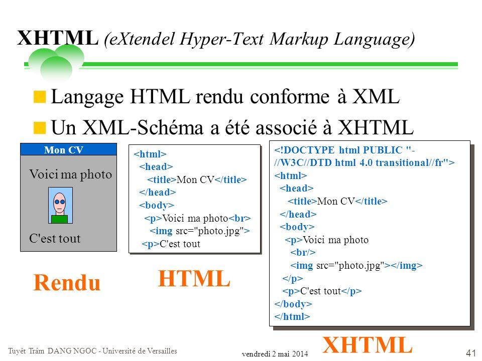 vendredi 2 mai 2014 Tuyêt Trâm DANG NGOC - Université de Versailles 41 XHTML (eXtendel Hyper-Text Markup Language) Langage HTML rendu conforme à XML U