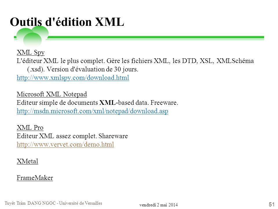 vendredi 2 mai 2014 Tuyêt Trâm DANG NGOC - Université de Versailles 51 Outils d'édition XML XML Spy L'éditeur XML le plus complet. Gère les fichiers X